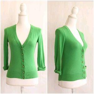 KATE SPADE Cardigan Sweater XXS Green Silk Blend